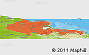 Political Panoramic Map of Holguin, physical outside
