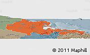 Political Panoramic Map of Holguin, semi-desaturated