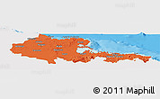 Political Panoramic Map of Holguin, single color outside