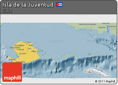 Savanna Style 3D Map of Isla De La Juventud