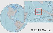 Gray Location Map of Isla de la Juventud, hill shading