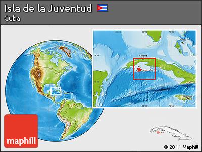 Physical Location Map of Isla De La Juventud