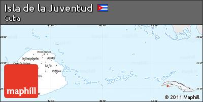 Silver Style Simple Map of Isla De La Juventud