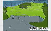 Physical 3D Map of La Habana, darken