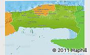 Physical 3D Map of La Habana, political outside
