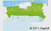 Physical 3D Map of La Habana, single color outside