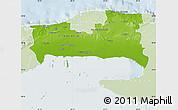 Physical Map of La Habana, lighten
