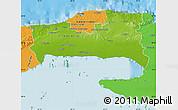 Physical Map of La Habana, political outside