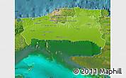 Physical Map of La Habana, satellite outside
