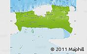 Physical Map of La Habana, single color outside