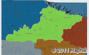 Political 3D Map of Las Tunas, darken