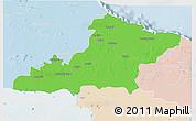 Political 3D Map of Las Tunas, lighten