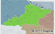 Political 3D Map of Las Tunas, semi-desaturated