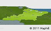 Physical Panoramic Map of Las Tunas, darken