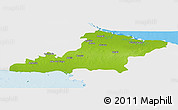 Physical Panoramic Map of Las Tunas, single color outside