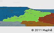 Political Panoramic Map of Las Tunas, darken