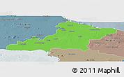 Political Panoramic Map of Las Tunas, semi-desaturated