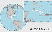 Blank Location Map of Cuba, gray outside
