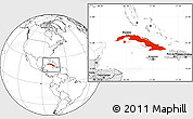 Blank Location Map of Cuba, highlighted continent