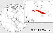Blank Location Map of Cuba