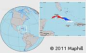 Flag Location Map of Cuba, gray outside
