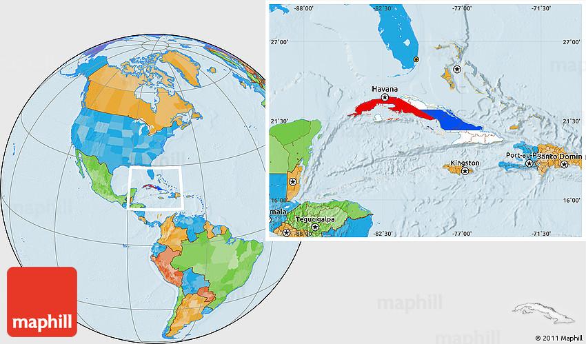 Flag Location Map of Cuba, political outside