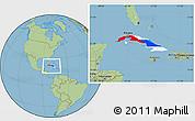 Flag Location Map of Cuba, savanna style outside