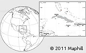Gray Location Map of Cuba, blank outside