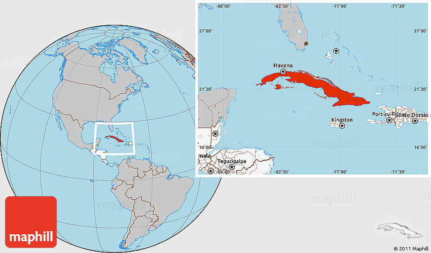 Gray Location Map of Cuba highlighted continent