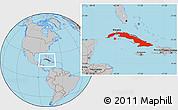 Gray Location Map of Cuba