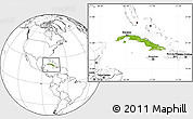 Physical Location Map of Cuba, blank outside