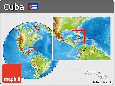 Physical Location Map of Cuba, within the entire continent