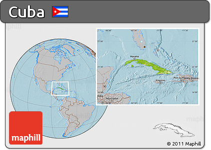 Physical Location Map of Cuba, gray outside, hill shading