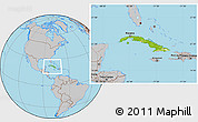 Physical Location Map of Cuba, gray outside