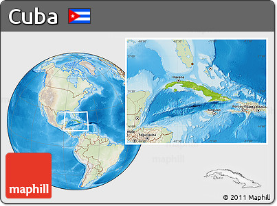 Physical Location Map of Cuba, lighten, land only