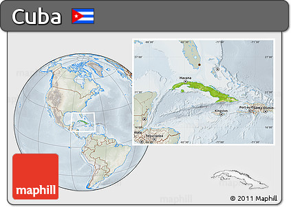 Physical Location Map of Cuba, lighten, semi-desaturated