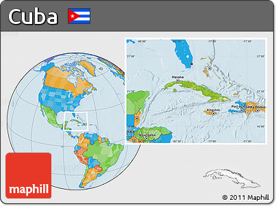 Physical Location Map of Cuba, political outside