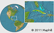Physical Location Map of Cuba, satellite outside