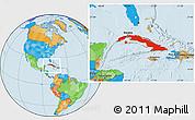 Political Location Map of Cuba