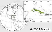 Satellite Location Map of Cuba, blank outside