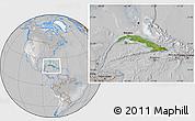 Satellite Location Map of Cuba, lighten, desaturated