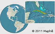Satellite Location Map of Cuba, lighten, land only