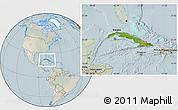 Satellite Location Map of Cuba, lighten