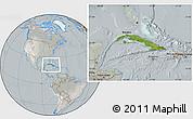 Satellite Location Map of Cuba, lighten, semi-desaturated