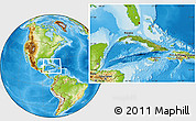 Satellite Location Map of Cuba, physical outside