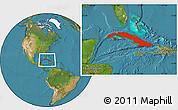 Satellite Location Map of Cuba