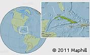 Satellite Location Map of Cuba, savanna style outside, hill shading