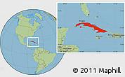 Savanna Style Location Map of Cuba