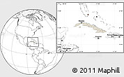 Shaded Relief Location Map of Cuba, blank outside