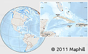 Shaded Relief Location Map of Cuba, lighten